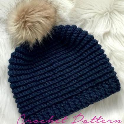 Crochet Hat Pattern - Knit Look Hat..