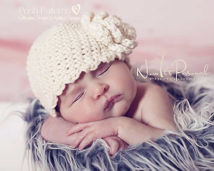 Crochet Hat Pattern Scalloped Edge Beanie Crochet Pattern Newborn To