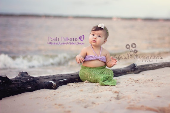 Crochet Pattern Baby Mermaid Tail And Top Set 3 Sizes Newborn To 12