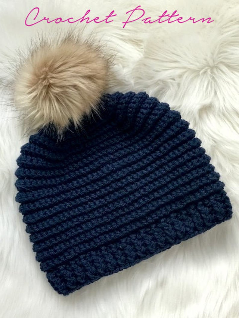 Crochet Hat Pattern - Knit Look Hat Crochet Pattern - Faux Knit Crochet Hat Pattern - PDF 453