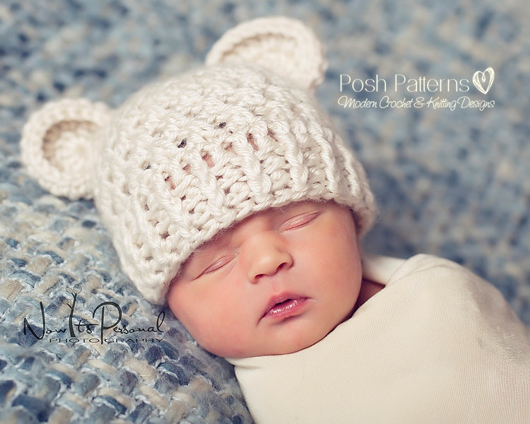Crochet Hat Pattern Baby Bear Beanie Crochet Pattern Newborn To