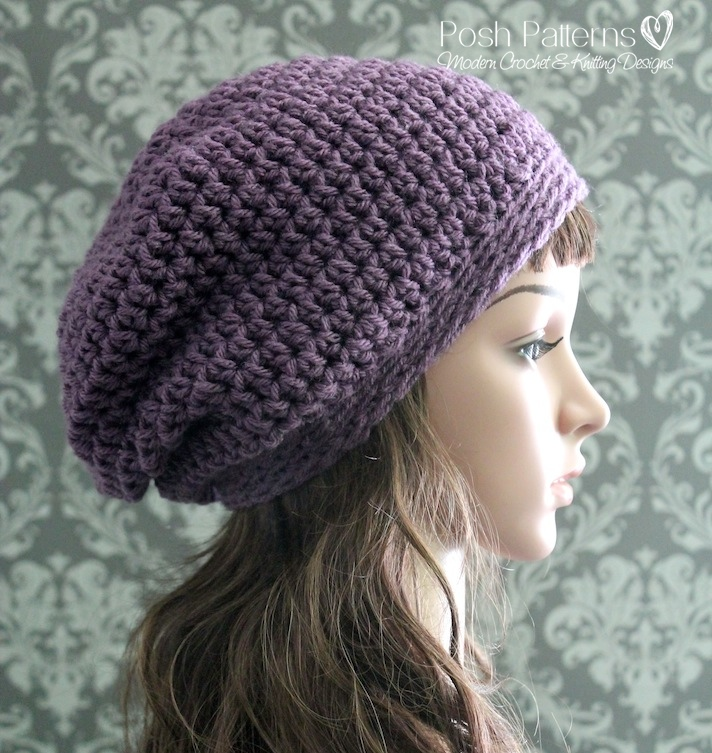 Crochet Pattern Crochet Slouchy Hat Pattern Crochet Hat Pattern