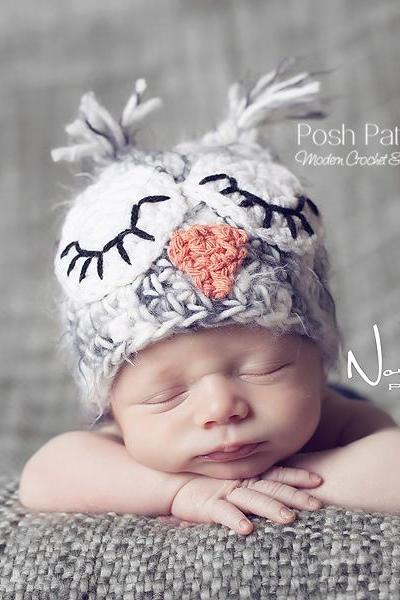 Crochet Hat Pattern - Owl Baby Hat Crochet Pattern PDF 109 - Newborn to Adult