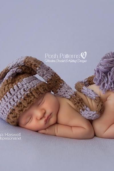 Crochet Hat Pattern Baby Long Tail Pixie Hat Stocking Hat Crochet Pattern Newborn to Toddler Sizes PDF 233