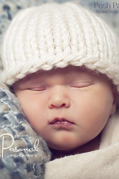 Knitting Pattern - Easy Knit Baby Beanie Hat PDF 227 - Includes 6 Sizes Newborn to Adult