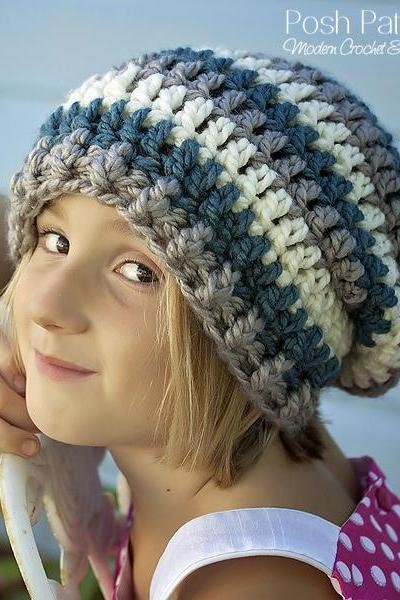 Crochet Pattern - Crochet Slouchy Hat Pattern - Includes Baby, Toddler, Child, Adult Regular and Adult Large Sizes PDF 391