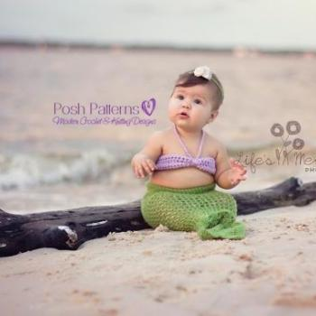 Crochet Pattern Baby Mermaid Tail and Top Set 3 Sizes Newborn to 12 Months