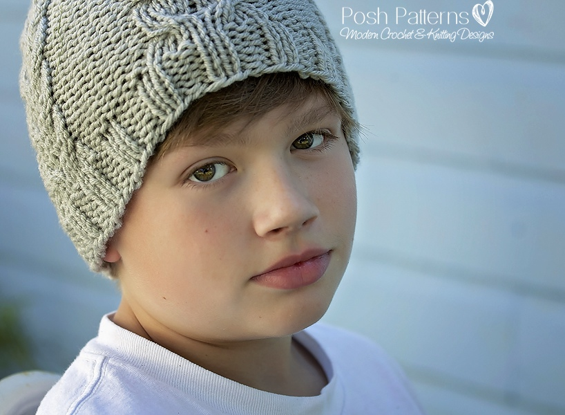 Knitting Pattern Knit Cable Hat Includes Baby Toddler Child
